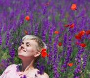 atrakcyjni target31_0_ kwiatów dziewczyny purpur potomstwa Obrazy Stock