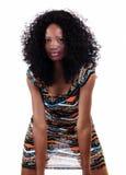 Atrakcyjny amerykanin afrykańskiego pochodzenia kobiety światło Przez sukni Zdjęcie Stock