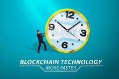 Atrakcyjny azjatykci biznesmen pcha zegar z cyfrowym plecy Obraz Royalty Free