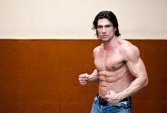 Atrakcyjny bez koszuli mięśniowy mężczyzna indoors Fotografia Royalty Free