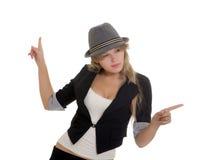 Atrakcyjny bizneswoman wskazuje ona palce obraz royalty free