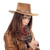 Atrakcyjny cowgirl z pistoletem obraz royalty free
