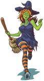 Atrakcyjny czarownica bieg z miotły kreskówki ilustracją ilustracja wektor