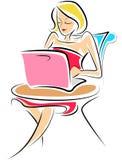 atrakcyjny damy laptopu menchii działanie Zdjęcie Stock