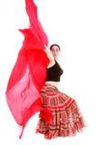 atrakcyjny dancingowy dziewczyny czerwieni szalik Zdjęcia Royalty Free