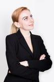Atrakcyjny i energiczny biznesowy woma w kostiumu na nagim ciele fotografia royalty free