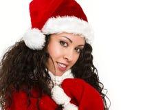 Atrakcyjny kędzierzawy Santa dziewczyny ono uśmiecha się Obraz Royalty Free