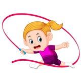Atrakcyjny kobieta taniec z czerwonym faborkiem ilustracji