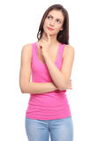 Atrakcyjny kobiety główkowanie zdjęcie stock