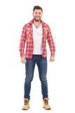 Atrakcyjny mężczyzna w lumberjack koszula Zdjęcia Stock