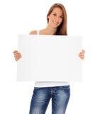 Atrakcyjny młodej kobiety mienia banka znak zdjęcia royalty free