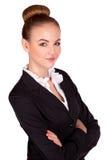 Atrakcyjny młody brunetka bizneswoman z jej rękami krzyżować Zdjęcie Stock
