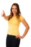 Atrakcyjny młody azjatykci caucasian kobieta gesta sukces z chwytem Obrazy Stock