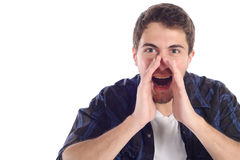 Atrakcyjny młodego człowieka krzyczeć Obraz Royalty Free