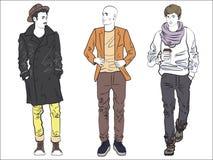 Atrakcyjny nowożytny modny mężczyzna set w modzie odziewa Koloru kreskowy rysunek ilustracji