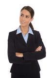 Atrakcyjny odosobniony uśmiechnięty bizneswoman w błękitnym kostiumu obrazy royalty free