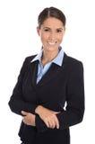 Atrakcyjny odosobniony uśmiechnięty bizneswoman w błękitnym kostiumu Obraz Stock