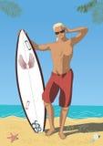atrakcyjny surfingowiec ilustracja wektor