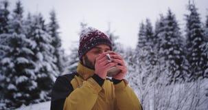 Atrakcyjny turysta w ciężkim zima dniu cieszy się zadziwiającego widok po środku śnieżny lasowy uśmiechnięty bardzo z podniecenie zbiory wideo
