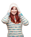 Atrakcyjny wzorcowy jest ubranym zima kapelusz, pulower i Zdjęcie Royalty Free