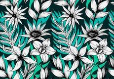 Atramentów kwiatów zmroku handdrawn wzór bezszwowy Fotografia Royalty Free