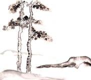 Atrament góra i drzewo royalty ilustracja