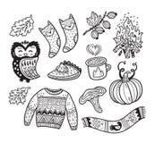 Atrament jesieni inkasowi elementy w kreskówki komiczce projektują Obrazy Stock