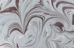 Atrament marmurowa tekstura Ebru handmade falowy tło Kraft papieru powierzchnia Unikalna sztuki ilustracja Ciekła marmoryzaci tek Fotografia Stock