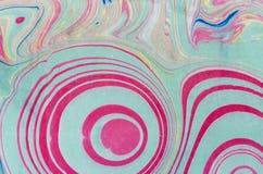 Atrament marmurowa tekstura Ebru handmade falowy tło Kraft papieru powierzchnia Unikalna sztuki ilustracja Ciekła marmoryzaci tek Obraz Stock
