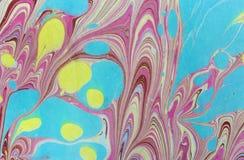 Atrament marmurowa tekstura Ebru handmade falowy tło Kraft papieru powierzchnia Unikalna sztuki ilustracja Ciekła marmoryzaci tek Zdjęcie Royalty Free