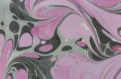 Atrament marmurowa tekstura Ebru handmade falowy tło Kraft papieru powierzchnia Unikalna sztuki ilustracja Ciekła marmoryzaci tek Zdjęcia Stock