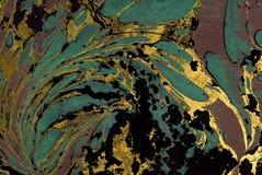 Atrament marmurowa tekstura Ebru handmade falowy tło Kraft papieru powierzchnia Unikalna sztuki ilustracja Ciekła marmoryzaci tek Obrazy Royalty Free