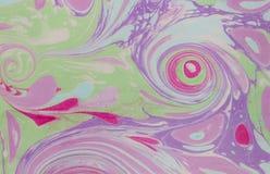 Atrament marmurowa tekstura Ebru handmade falowy tło Kraft papieru powierzchnia Unikalna sztuki ilustracja Ciekła marmoryzaci tek Fotografia Royalty Free