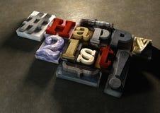 Atrament splattered drukowych drewnianych bloki z grungy Szczęśliwym 21st typog Zdjęcia Royalty Free
