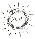 2017 atramentu czarny znak, ręka rysująca szczotkarska kaligrafia Zdjęcie Royalty Free