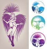 Atramentu linework dancingowa dziewczyna w karnawału piórka koszcie Zdjęcie Royalty Free