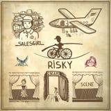 Atramentu rysunek ryzykowny, salesgirl, scena, aktorka, royalty ilustracja