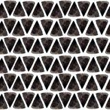 Atramentu trójboka wzór Zrelaksowanej geometrii bezszwowa tekstura z ręka malującymi kształtami, błękitem i czerń kolorami, moda  Zdjęcia Stock