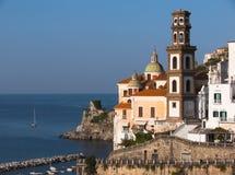 Atrani cupole and belltower. Atrani church of holy Maria Maddalena and belltower of Salvatore Birecto Bireto stock images