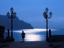 Atrani full moon on the coast Royalty Free Stock Photo