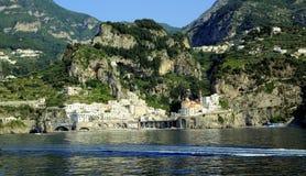 Atrani. A glimpse of the Amalfi Coast seen from the sea Royalty Free Stock Photo