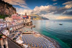 Atrani, Italy. Aerial view of Atrani famous coastal village located on Amalfi Coast, Italy Stock Photos