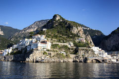 Atrani. A shot from the sea of Atrani on Amalfi Coast Stock Photo