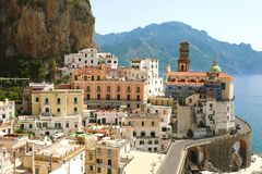 Atrani stunning village overhanging the sea in Amalfi Coast, It royalty free stock image