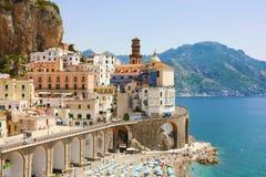 Atrani stunning village overhanging the sea in Amalfi Coast, Italy royalty free stock photo