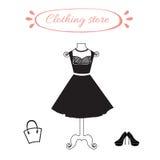 Atrapa z czerni suknią, buty i kobieta troszkę, zdojesteśmy Obrazy Stock
