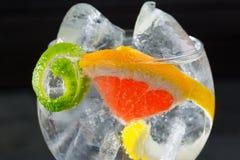 Atrape la macro tónica del cóctel con el limón y el pomelo de Lima Imagenes de archivo