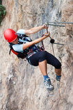 Através da escalada de ferrata/Klettersteig Fotos de Stock Royalty Free