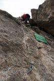 Através da escalada do klettersteig de ferrata/ Imagem de Stock Royalty Free