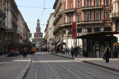Através de Dante em Milão fotografia de stock